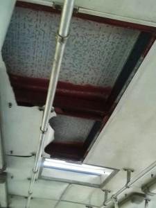Teto do ônibus visivelmente danificado provocou desconforto pelos ruídos da viagem (Foto: Colaboração)
