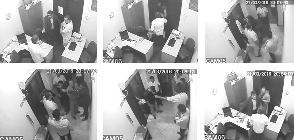 Imagens da câmera de segurança interna da Câmara, que flagrou momento da discussão entre vereador, assessor e o proprietário do jornal (Reprodução)