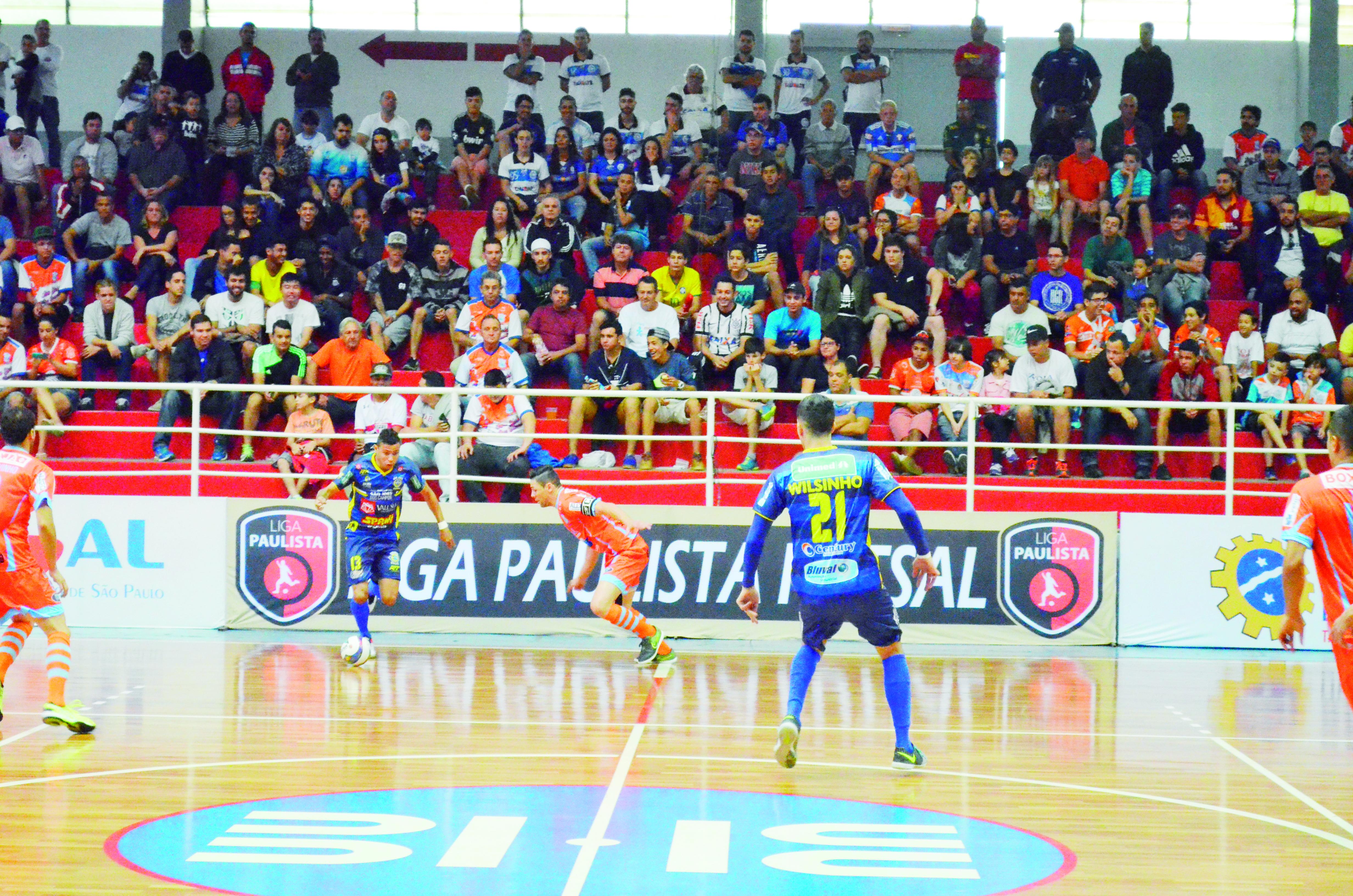 Partida no Itaguará, pela Liga Paulista de Futsal; ginásio é triunfo do Yoka para decisão desta quinta-feira (Arquivo Atos)