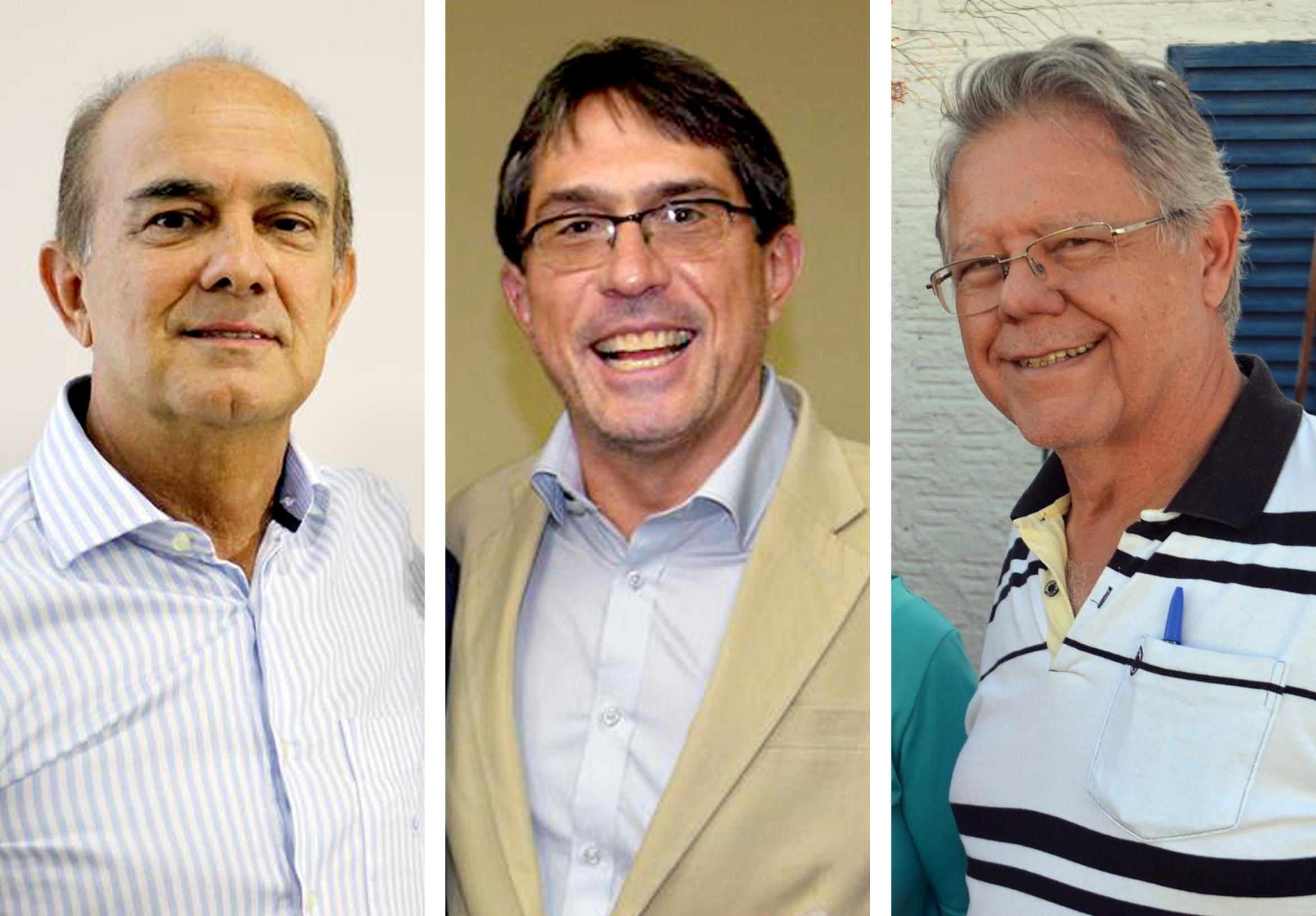 Candidatos a prefeito de Lorena, Ballerini, Marcondes e Vieira, que devem se enfrentar no primeiro debate realizado na cidade (Foto: Arquivo Atos)