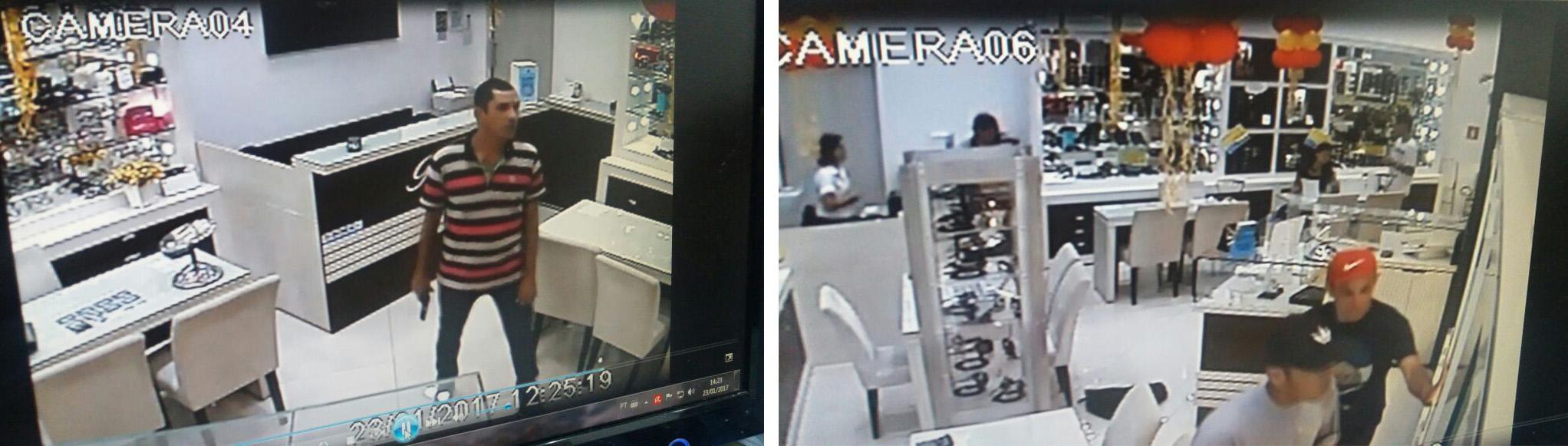 Imagens das câmeras de monitoramento do shopping de Lorena, que mostram o momentos do assalto em joalheria, na manhã desta segunda-feira (Foto: Reprodução)