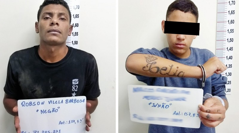 O menor e o homem capturados pela Polícia, que confessaram o assassinato do taxista em Guaratinguetá (Foto: Divulgação)