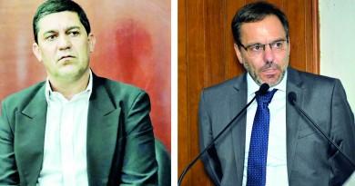 O ex-prefeito Edson Mota e o atual Guilherme Carvalho; herança problemática em Silveiras (Foto: Arquivo Atos)