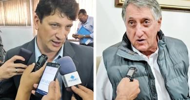O prefeito Isael Domingues (à esquerda) e seu antecessor Vito Ardito; governo atual denunciou desaparecimento de materiais no almoxarifado (Fotos: Arquivo Atos)
