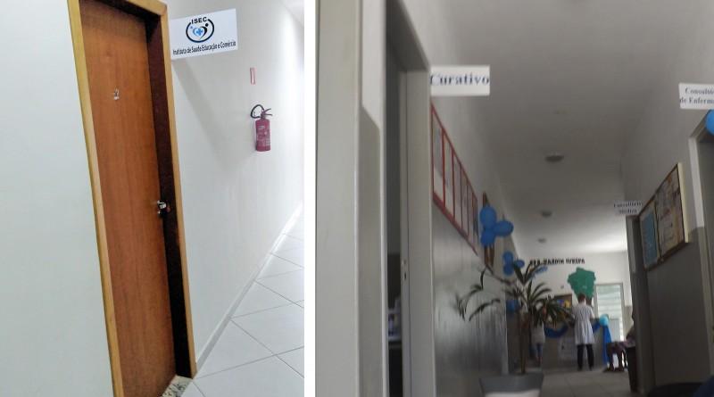 Portas fechadas da Isec (à esquerda) e o corredor de atendimento de posto do ESF; sistema municipal é foco de polêmica em Cachoeira (Fotos: Francisco Assis)