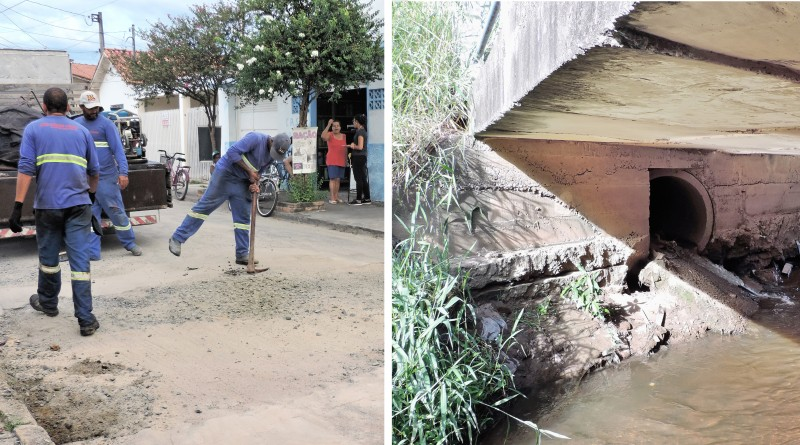 Funcionários fazem serviço de manutenção em local que recebeu obra da Sabesp; no Bairro da Cruz, saída de esgoto sob ponte é um dos pontos criticados na cidade (Fotos: Francisco Assis e Rafaela Lourenço)