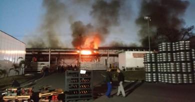Incêndio na manhã desta terça-feira, que assustou funcionários da Maxion e moradores de Cruzeiro (Foto: Reprodução)