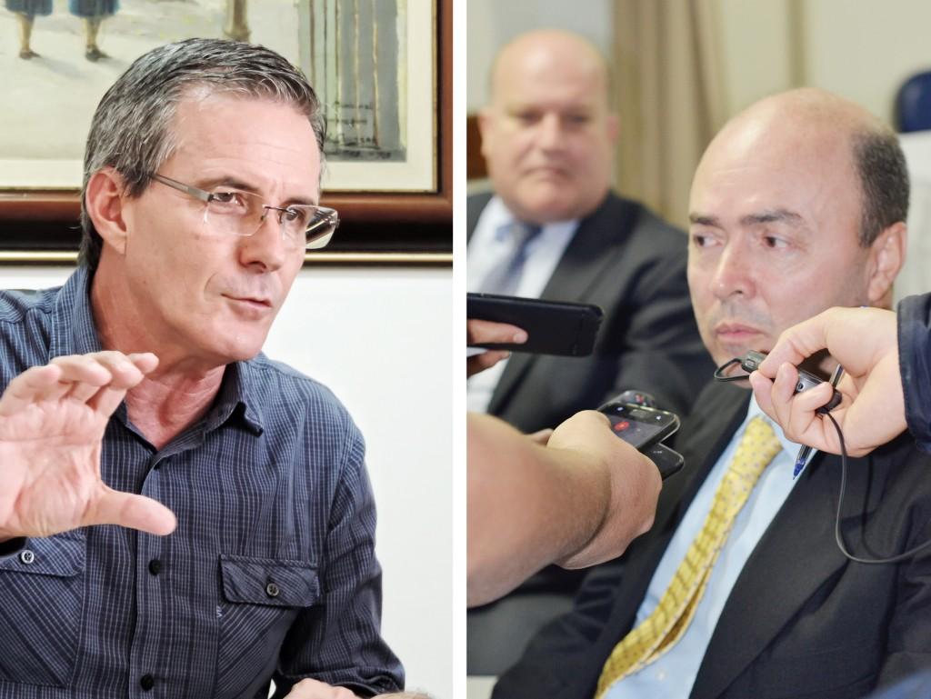 O prefeito de Guaratinguetá, Marcus Soliva, e a nova diretoria do Frei Galvão; acordo mais perto do sim (Foto: Leandro Oliveira)