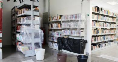 Funcionária da biblioteca separa livros após a chuva; Prefeitura recebe pedidos por reforma (Foto: Juliana Aguilera)