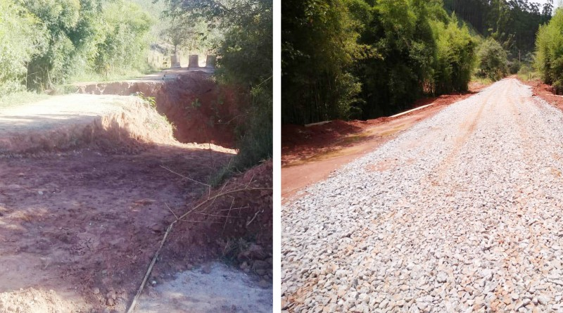 O antes e o depois do acesso principal ao bairro do Bonfim, na zona rural de Aparecida; obra foi entregue após pressão de famílias do local (Fotos: Reprodução PMA)