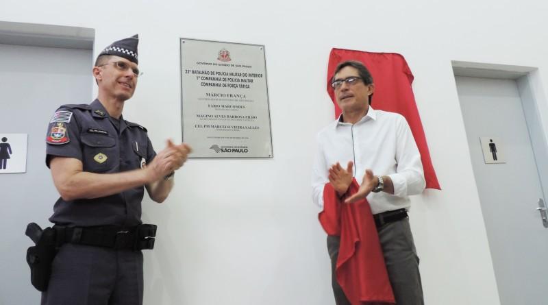 Evento de inauguração do novo batalhão; com Atividade Delegada, PM e Prefeitura ampliam parceria (Foto: Rafaela Lourenço)