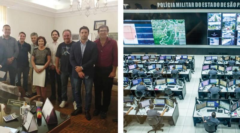 Reunião em Queluz debateu instalação do Detecta para os municípios do Vale Histórico; sala de monitoramento do Governo do Estado conta com estrutura ampliada (Fotos: Reproduções PMQ e GESP)