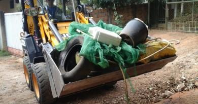 Materiais coletados em Guaratinguetá; após suspensão, serviço retorna neste sábado (Foto: Reprodução PMG)