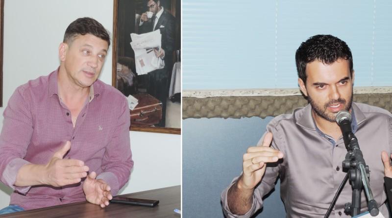 O prefeito Marcus Soliva (esq.) participa de reunião na EEAR; cidade projeta centro de controle de voos (Fotos: Arquivo Atos)