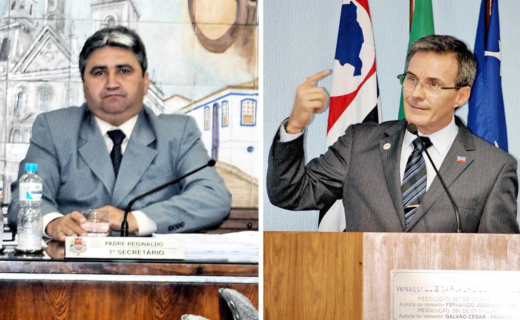Padre Reginaldo e Soliva; após comissão aliviar fiscalização, oposicionista cobra contratos da saúde (Fotos: Arquivo Atos)