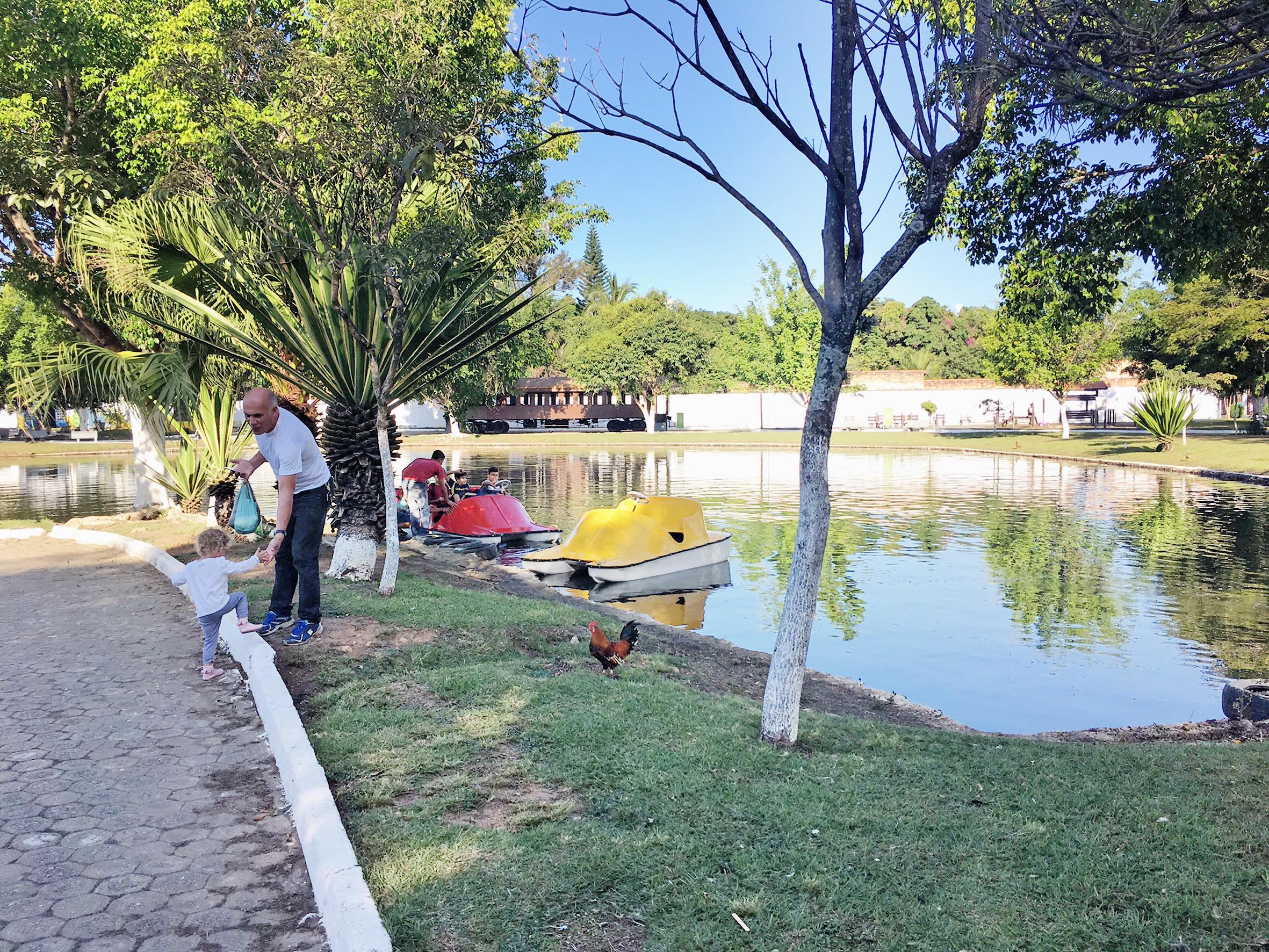 Homem leva neto para passear no Parque Municipal, que recebeu reforma e ganhou dois novos pedalinhos; atração tem tarifa de R$ 2 (Foto: Jéssica Dias)