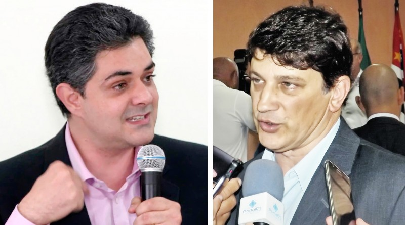 """O prefeito de Taubaté Ortiz Junior (esquerda), que cobrou o """"vizinho"""" Isael Domingos  após aumento da demanda de pacientes de Pinda (Fotos: Arquivos Atos)"""