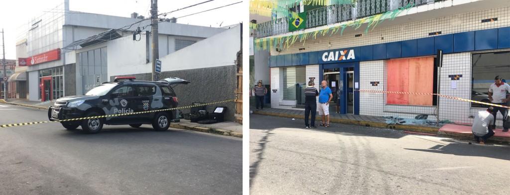 Polícia Civil interdita área em frente ao banco Santander, na avenida Coronel Domiciano; Caixa também é alvo de ataques (foto: Jéssica Dias)