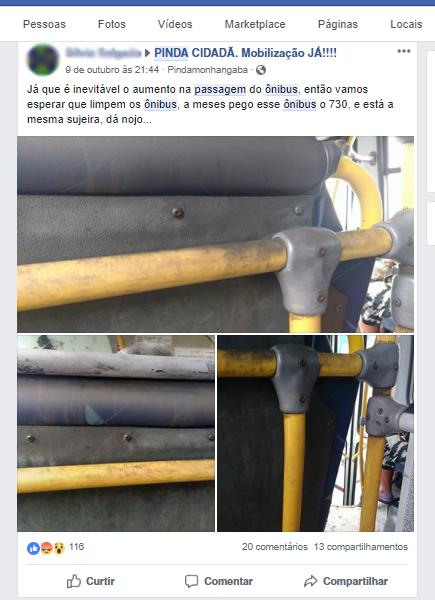 Postagem em Facebook estampa descontentamento dos moradores com o aumento (Foto: Reprodução)