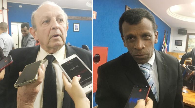Os vereadores Dr. Werneck e Nei Carteiro; base e oposição debatem pedido de Soliva por redução (Foto: Leandro Oliveira)