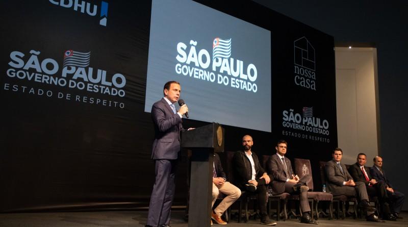 """O governador João Doria, durante cerimônia de lançamento do projeto habitacional """"Nossa Casa"""", em São Paulo; cidades da região são contempladas (Foto: Divulgação GESP)"""