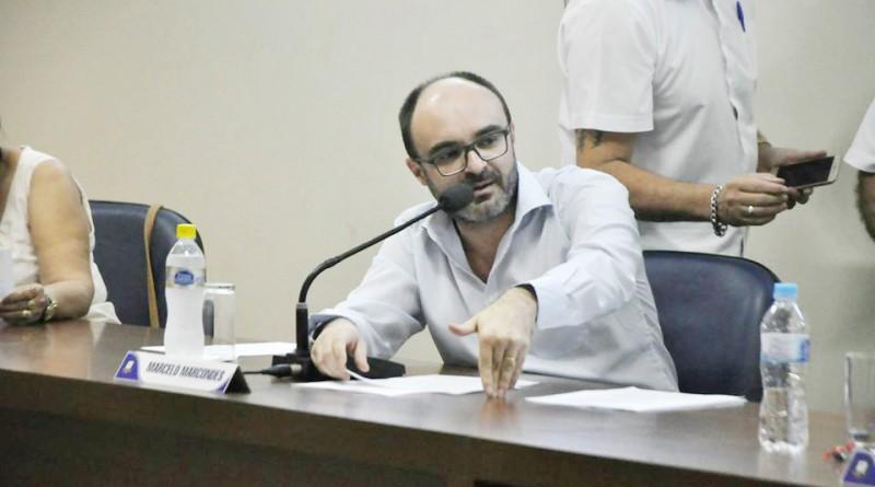 O vereador Marcelo Marcondes um dos investigados que teve os bens bloqueados pela Justiça; frota da Câmara (Foto: Reprodução CMA)