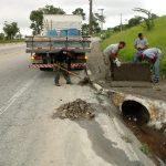 Estrada de acesso recebe ações de reparos após alagamentos em Pinda