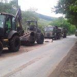 Força Tarefa da Prefeitura e Exército entra na terceira fase de recuperação de estrada rural em Pinda